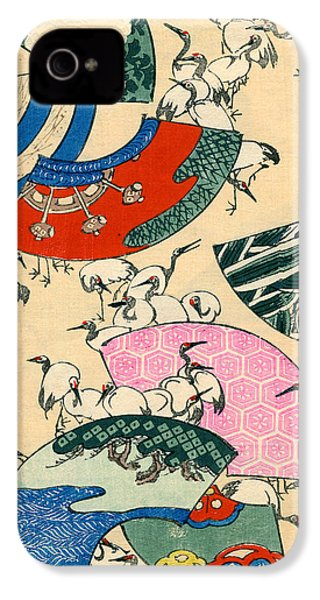 Vintage Japanese Illustration Of Fans And Cranes IPhone 4s Case by Japanese School
