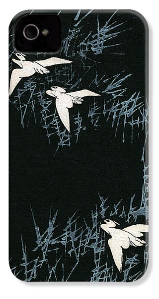 Vintage Japanese Illustration Of Three Cranes Flying In A Night Landscape IPhone 4s Case by Japanese School