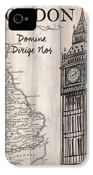 Vintage Travel Poster London IPhone 4s Case by Debbie DeWitt