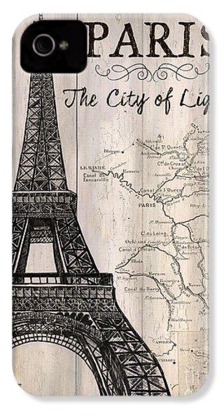 Vintage Travel Poster Paris IPhone 4s Case by Debbie DeWitt