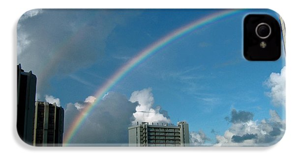 IPhone 4s Case featuring the photograph Waikiki Rainbow by Anthony Baatz