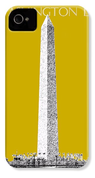 Washington Dc Skyline Washington Monument - Gold IPhone 4s Case by DB Artist