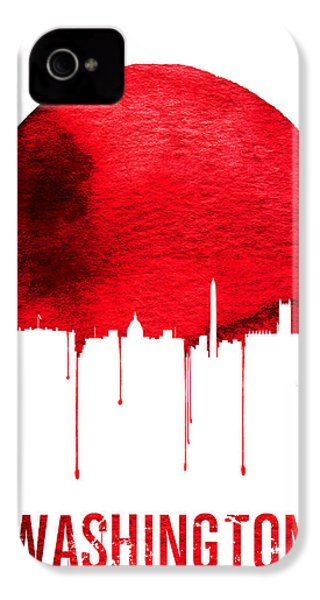 Washington Skyline Red IPhone 4s Case by Naxart Studio