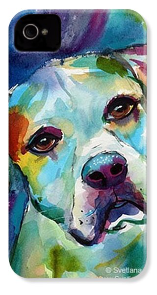 Watercolor American Bulldog Painting By IPhone 4s Case
