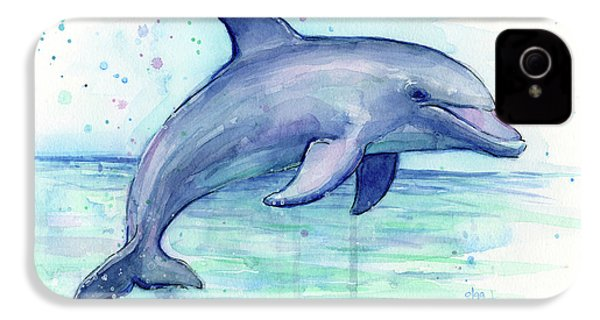 Watercolor Dolphin Painting - Facing Right IPhone 4s Case
