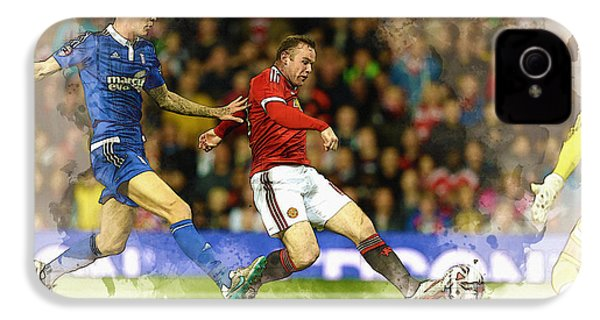Wayne Rooney Of Manchester United Scores IPhone 4s Case by Don Kuing