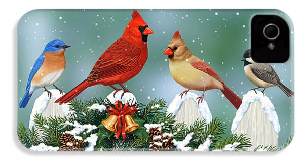 Winter Birds And Christmas Garland IPhone 4s Case