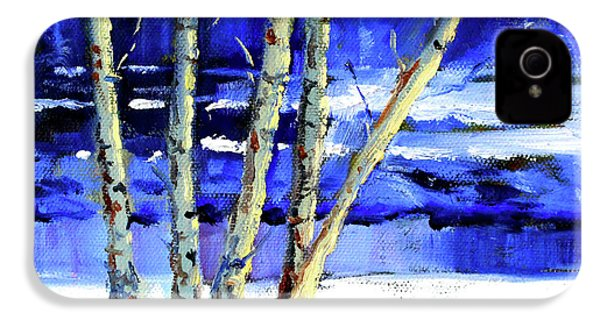 IPhone 4s Case featuring the painting Winter By The River by Nancy Merkle