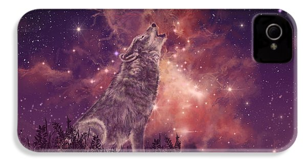 Wolf And Sky Red IPhone 4s Case by Bekim Art