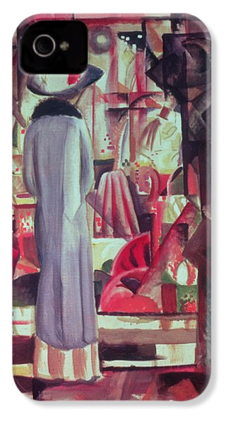 Woman In Front Of A Large Illuminated Window IPhone 4s Case by August Macke