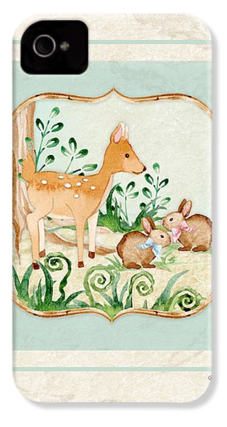 Woodland Fairy Tale - Deer Fawn Baby Bunny Rabbits In Forest IPhone 4s Case by Audrey Jeanne Roberts
