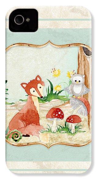 Woodland Fairy Tale - Fox Owl Mushroom Forest IPhone 4s Case