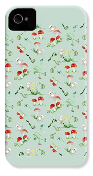Woodland Fairy Tale - Red Mushrooms N Owls IPhone 4s Case by Audrey Jeanne Roberts