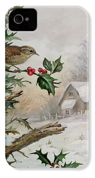 Wren In Hollybush By A Cottage IPhone 4s Case by Carl Donner