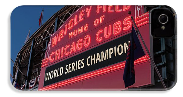 Wrigley Field World Series Marquee IPhone 4s Case by Steve Gadomski