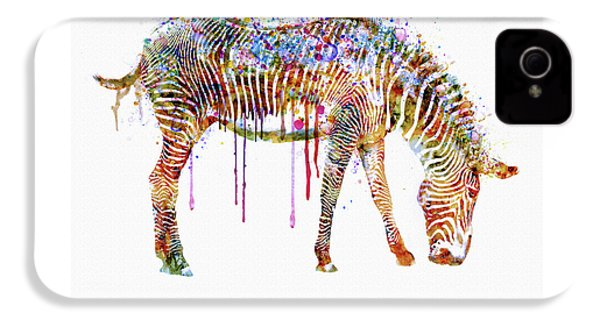 Zebra Watercolor Painting IPhone 4s Case by Marian Voicu