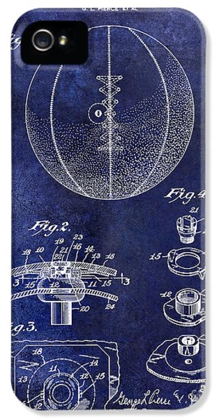 1927 Basketball Patent Drawing Blue IPhone 5 Case by Jon Neidert