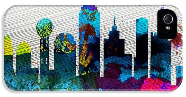 Dallas iPhone 5 Case -  Dallas City Skyline by Naxart Studio