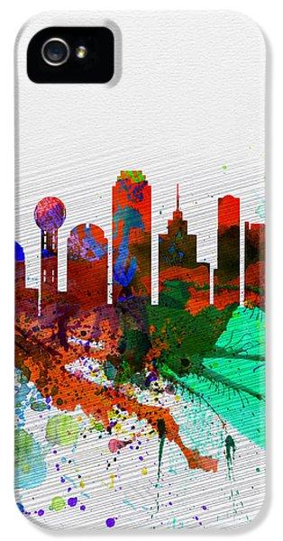 Dallas iPhone 5 Case -  Dallas Watercolor Skyline by Naxart Studio
