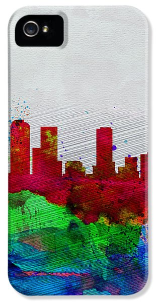 Denver Watercolor Skyline IPhone 5 Case by Naxart Studio