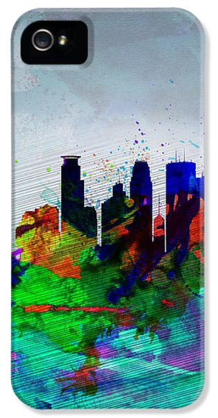 Minneapolis Watercolor Skyline IPhone 5 Case by Naxart Studio