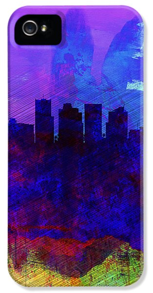 Phoenix Watercolor Skyline 1 IPhone 5 Case by Naxart Studio