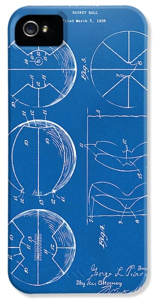 1929 Basketball Patent Artwork - Blueprint IPhone 5 Case by Nikki Marie Smith