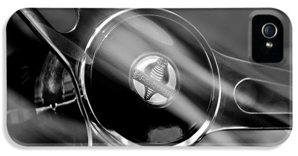 1965 Ford Mustang Cobra Emblem Steering Wheel IPhone 5 / 5s Case by Jill Reger