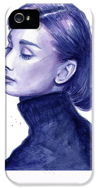 Audrey Hepburn Portrait IPhone 5 Case by Olga Shvartsur