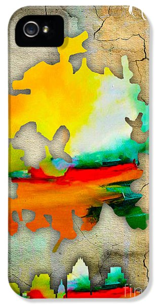 Austin Map And Skyline Watercolor IPhone 5 / 5s Case by Marvin Blaine