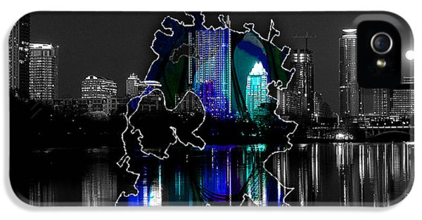 Austin Texas Map And Skyline Watercolor IPhone 5 / 5s Case by Marvin Blaine