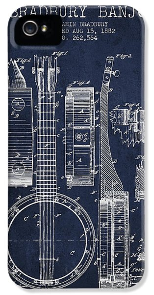 Banjo Patent Drawing From 1882 - Blue IPhone 5 Case