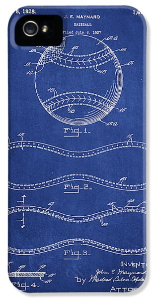 Softball iPhone 5 Case - Baseball Patent Drawing From 1927 by Aged Pixel