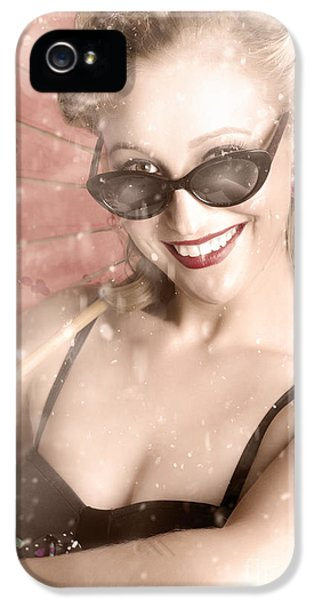 Beautiful Woman In Retro Sixties Fashion IPhone 5 Case by Jorgo Photography - Wall Art Gallery