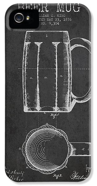 Beer Mug Patent From 1876 - Dark IPhone 5 Case