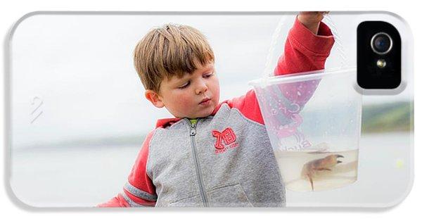 Boy Holding Crab IPhone 5 Case by Samuel Ashfield