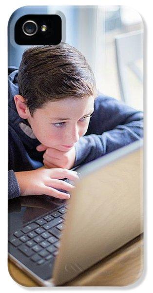 Boy Using A Laptop IPhone 5 Case
