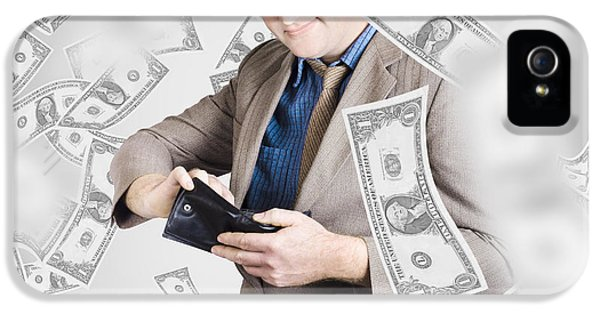 Businessman Under Falling Money. Financial Success IPhone 5 Case by Jorgo Photography - Wall Art Gallery
