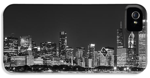 Hancock Building iPhone 5 Case - Chicago Skyline At Night Black And White Panoramic by Adam Romanowicz