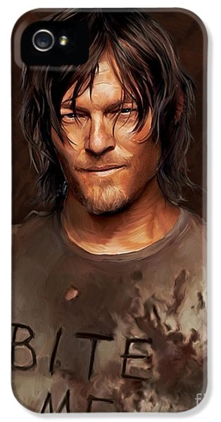 Daryl - Bite Me IPhone 5 Case by Paul Tagliamonte