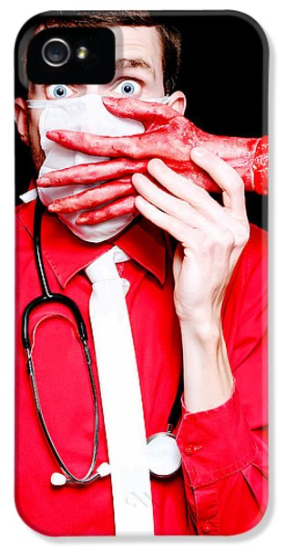 Doctor Death Surgeon Holding Sawn Off Human Hand IPhone 5 Case by Jorgo Photography - Wall Art Gallery