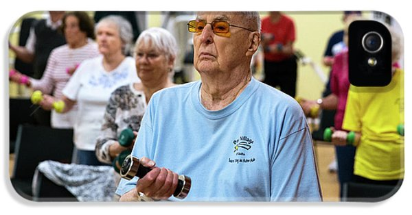 Exercise Class For Active Elderly IPhone 5 Case by Alex Rotas