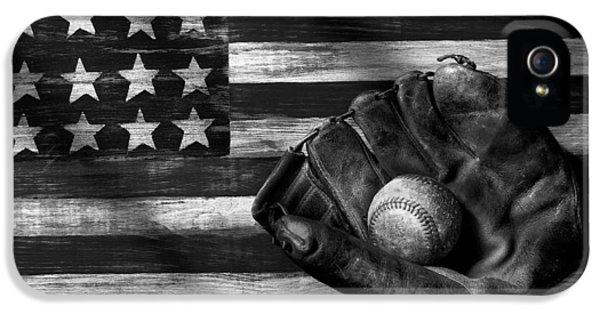 Baseball iPhone 5 Case - Folk Art American Flag And Baseball Mitt Black And White by Garry Gay