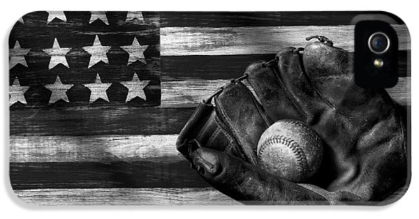 Folk Art American Flag And Baseball Mitt Black And White IPhone 5 / 5s Case by Garry Gay