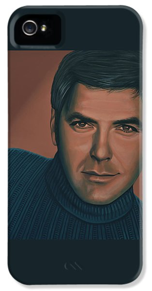 George Clooney Painting IPhone 5 Case by Paul Meijering