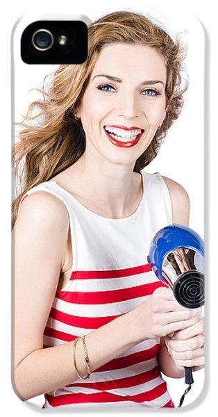 Happy Female Hairdresser Holding Hairdryer IPhone 5 Case