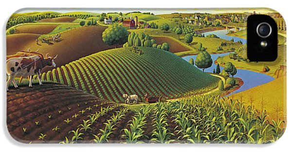 Rural Scenes iPhone 5 Case - Harvest Panorama  by Robin Moline