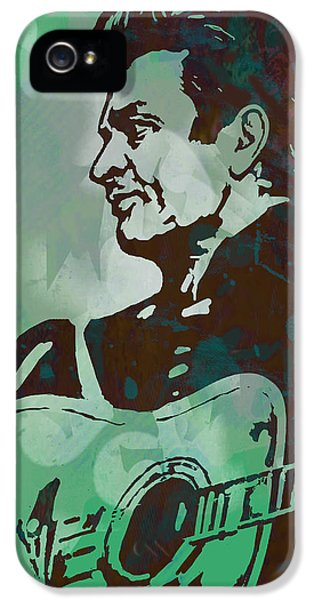 Johnny Cash - Stylised Etching Pop Art Poster IPhone 5 Case by Kim Wang