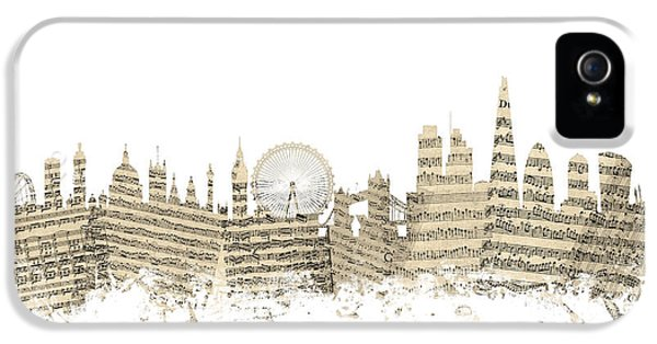 London England Skyline Sheet Music Cityscape IPhone 5 Case by Michael Tompsett