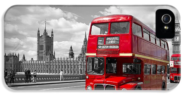 London - Houses Of Parliament And Red Buses IPhone 5 Case by Melanie Viola